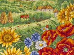 фото: картина для вышивки крестом маки, подсолнухи, домики