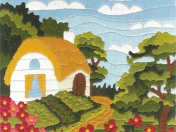 фото: картина для вышивки нитками домик