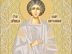изображение: икона для вышивки бисером Св. Пантелеймон