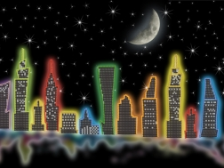 фото: картина для вышивки бисером неоновый мегаполис