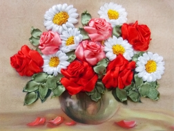 Скрученная роза - вышивка лентами, мастер-класс