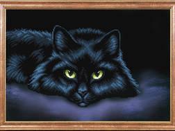 фото: картина для вышивки бисером Магия канвы Черный кот