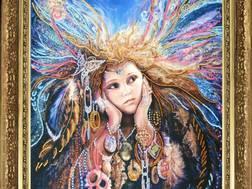 фото: картина для вышивки бисером, набор Фея птиц