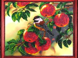 фото: картина для вышивки бисером Воробей на яблоне