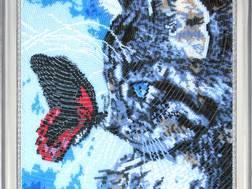 фото: картина для вышивки бисером, набор Котенок и бабочка
