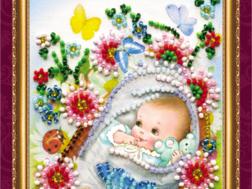 фото: открытка для вышивки бисером Абрис Арт С новорожденным