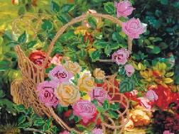 фото: картина для вышивки бисером, схема, Садовые розы
