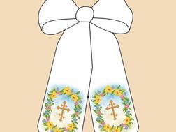 фото: пасхальный бант для вышивки бисером