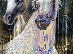 фото: картина для вышивки бисером, лошади