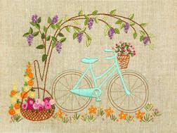 фото: набор для вышивки нитками в технике декоративные швы, велосипед
