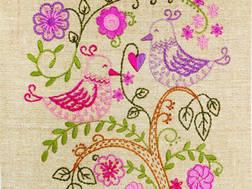 фото: картина для вышивки нитками Влюбленные птички