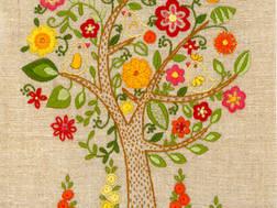 фото: набор для вышивки нитками в технике декоративные швы, дерево