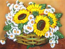 фото: картина для вышивки лентами, Подсолнухи и ромашки