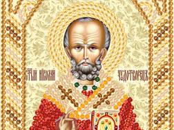 изображение: икона для вышивки бисером маленького формата Николай Чудотворец