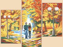 фото: модульная картина для вышивки бисером Осенний парк
