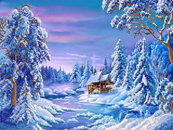 фото: картина для вышивки бисером Зимняя сказка
