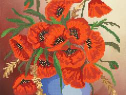 фото: картина для вышивки бисером  Букет маков