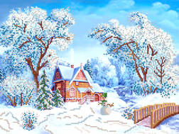 фото: картина для вышивки бисером Зимняя деревушка