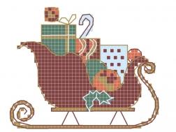 фото: картинка для вышивки на одежде Санки Санта Клауса