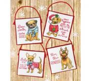 Набор для вышивки крестом Рождественские щенки
