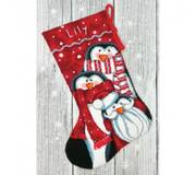 Набор для вышивки крестом Праздничные пингвины. Чулок