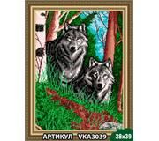 Схема для вышивки бисером Волки в лесу