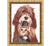 Схема для вышивки бисером Собака с котенком