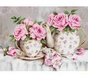 Набор для вышивки гобелена Утренний чай и розы