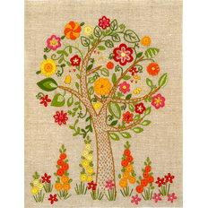 Дерево — вышивка нитками, декоративные швы, мастер-класс