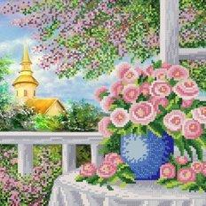 Схема для вышивки бисером Розы у окна