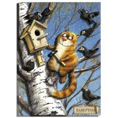 фото: картина папертоль кот, рыжий кот, кот на дереве, кот и скворцы