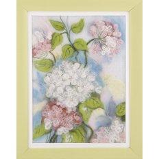 Фото набора для валяния картины из шерсти, цветы