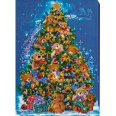 фото: картина для вышивки бисером новогодняя елка с мишками Тедди