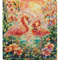 фото: картина дял вышивки бисером пара розовых фламинго