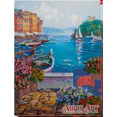 фото: картина для вышивки бисером морской залив с парусными лодками
