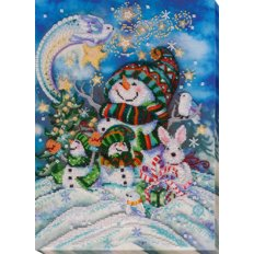 фото: картина для вышивки бисером снеговик