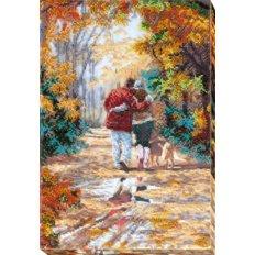 фото: картина для вышивки бисером, осень и влюблённая пара