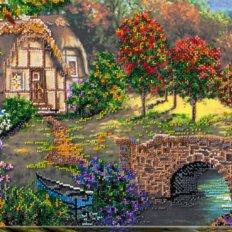 фото: картина для вышивки бисером, Мостик и домик