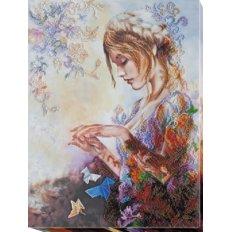 фото: картина для вышивки бисером, Девушка с оригами