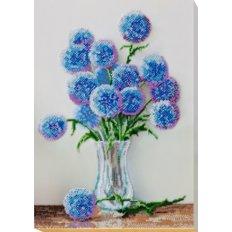фото: картина для вышивки бисером, Голубые цветочки