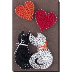 фото: картина с технике стринг-арт Влюблённые котики