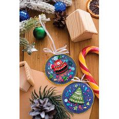 фото: новогодняя игрушка для вышивки бисером на холсте, Мишуткин праздник