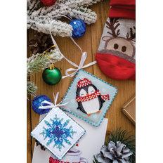 фото: новогодняя игрушка для вышивки бисером на холсте, Миленький пингвинчик