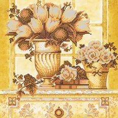 Схема для вышивки бисером Палевые цветы