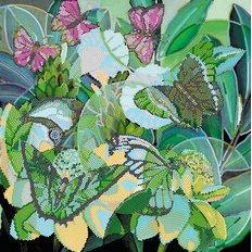 фото: картина для вышивки бисером тропики, бабочки