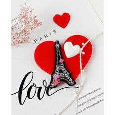 фото: вышитая бисером и камнями брошь Сердце Франции