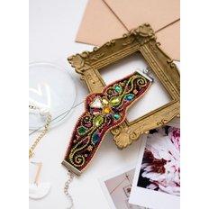фото: браслет, вышитый бисером и бусинами, Золотой узор