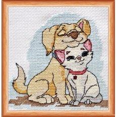 фото: картина для вышивки крестиком щенок и котенок
