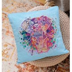 фото: подушка, вышитая крестиком, Слон