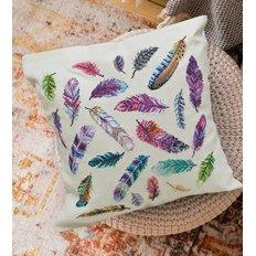 фото: подушка, вышитая крестиком, Перья